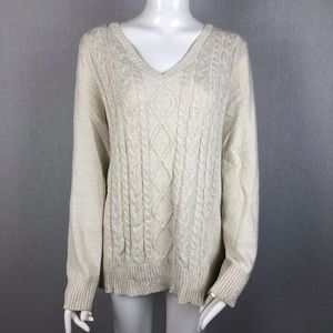 Chaps White & Gold Cable Knit Sweater Size 1X